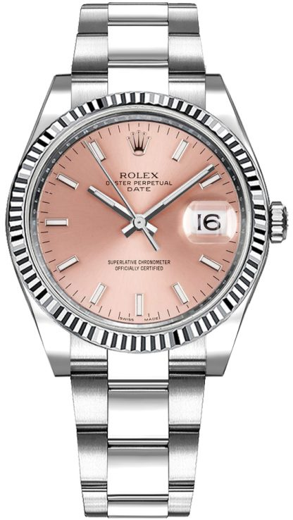 replique Montre Automatique Rolex Oyster Perpetual Date 34 Cadran Rose 115234