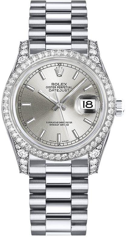 replique Montre Femme Rolex Datejust 31 Cadran Argenté Or Blanc 178159