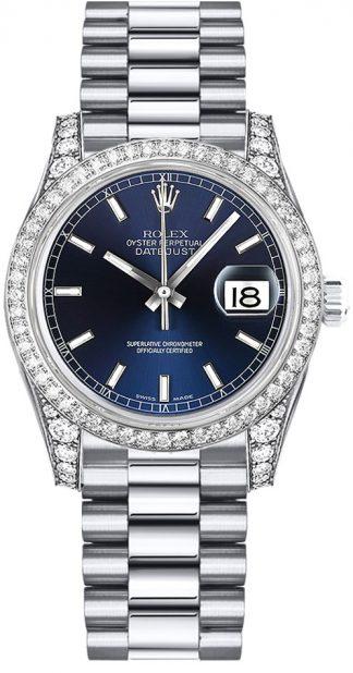 replique Montre Femme Rolex Datejust 31 Cadran Bleu Or Blanc 178159