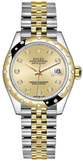 replique Montre Femme Rolex Datejust 31 Champagne Diamond Dial 278343RBR