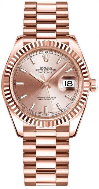 replique Montre Femme Rolex Datejust 31 Everose Gold President Bracelet 178275