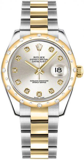 replique Montre Femme Rolex Datejust 31 Silver Diamond Oyster Bracelet 178343