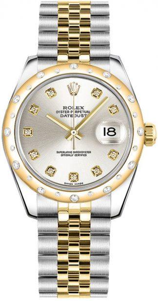 replique Montre Femme Rolex Datejust 31 en or jaune et acier huilé 178343