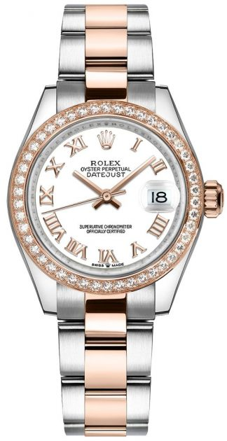 replique Montre Femme Rolex Datejust 31 en or rose et lunette diamant 278381RBR