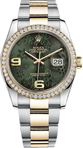 replique Montre Femme Rolex Datejust 36 Green Floral 116243