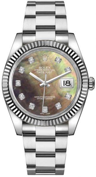 replique Montre Femme Rolex Datejust 36 Pearl Black & Diamond Dial 116234