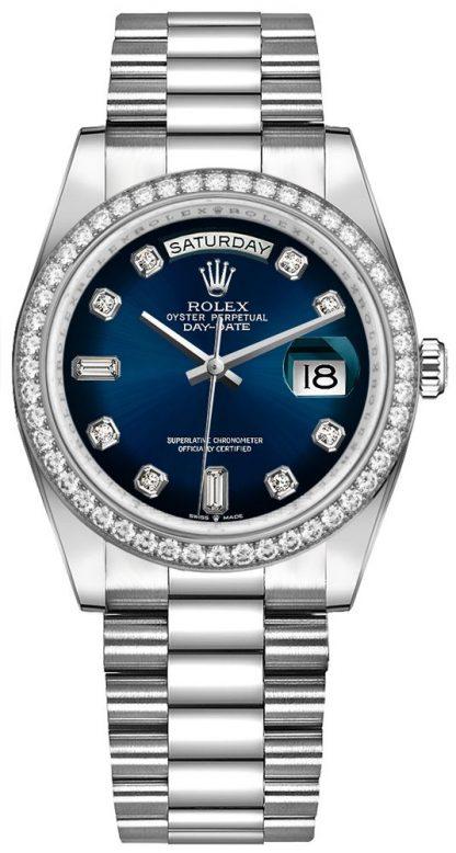 replique Montre Femme Rolex Day-Date 36 Cadran Bleu Lunette Diamant 128349RBR