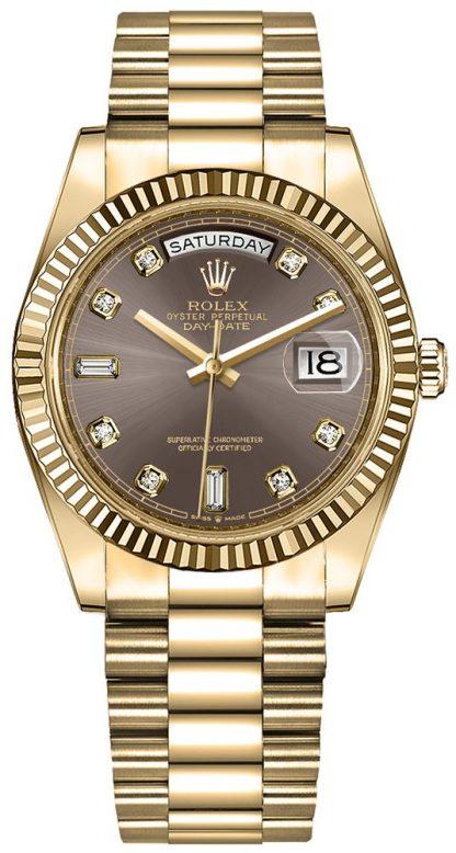 replique Montre Femme Rolex Day-Date 36 Cadran Gris Foncé 128238