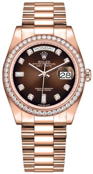 replique Montre Femme Rolex Day-Date 36 Cadran Ombre Marron 128345RBR
