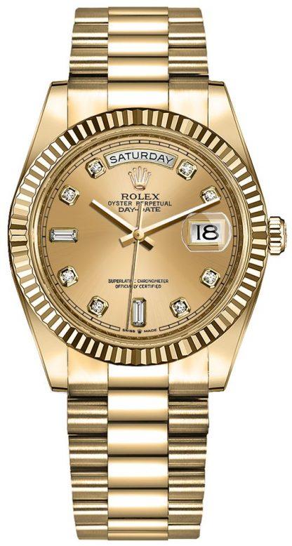 replique Montre Femme Rolex Day-Date 36 Champagne Diamond Dial 128238