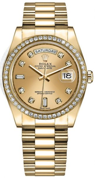 replique Montre Femme Rolex Day-Date 36 Champagne Diamond Dial 128348RBR