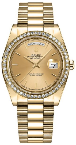 replique Montre Femme Rolex Day-Date 36 Champagne Index Dial 128348RBR