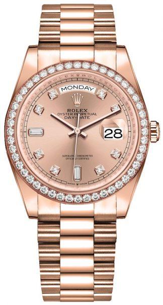 replique Montre Femme Rolex Day-Date 36 Diamond Bezel 128345RBR