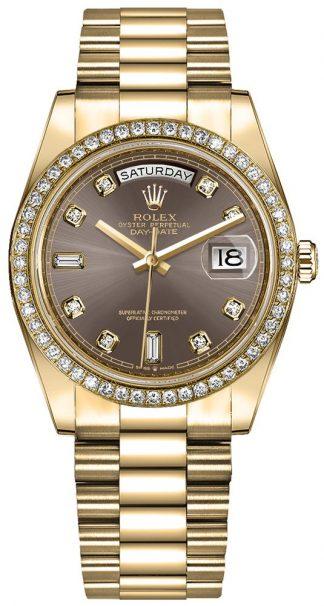 replique Montre Femme Rolex Day-Date 36 Diamond Hour Markers 128348RBR