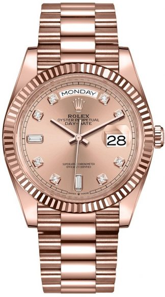 replique Montre Femme Rolex Day-Date 36 Everose Or 18 carats 128235