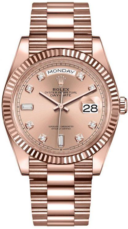 replique Montre Femme Rolex Day-Date 36 Everose Or 18 carats 128235