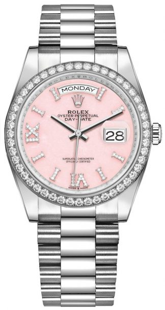 replique Montre Femme Rolex Day-Date 36 Opale Rose Diamant 128349RBR