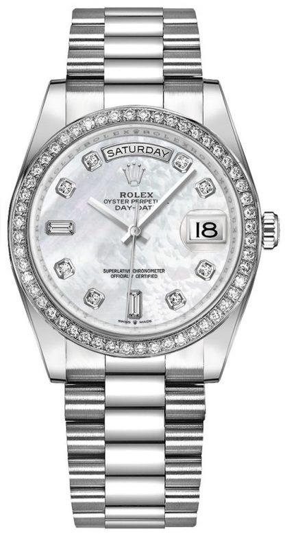 replique Montre Femme Rolex Day-Date 36 Or Blanc 18k 128349RBR