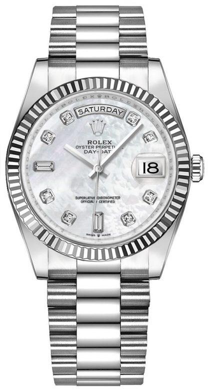 replique Montre Femme Rolex Day-Date 36 Or Blanc Nacre 128239