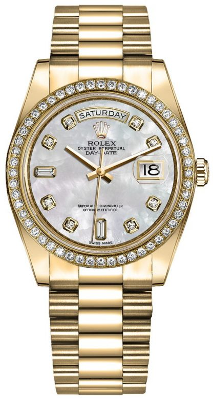 replique Montre Femme Rolex Day-Date 36 Or Jaune 18k Diamants 128348RBR