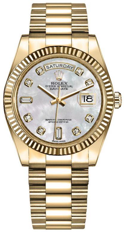 replique Montre Femme Rolex Day-Date 36 lunette cannelée Président Bracelet 128238