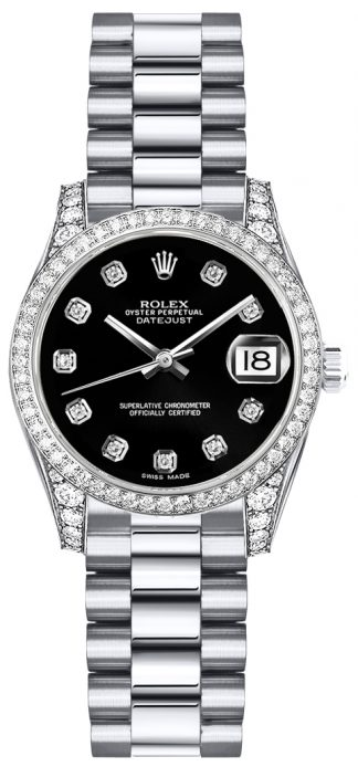 replique Montre Femme Rolex Lady-Datejust 26 Black Diamond Dial 179159