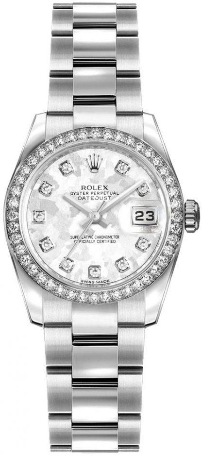 replique Montre Femme Rolex Lady-Datejust 26 Cadran Cristal Gris Or 179384