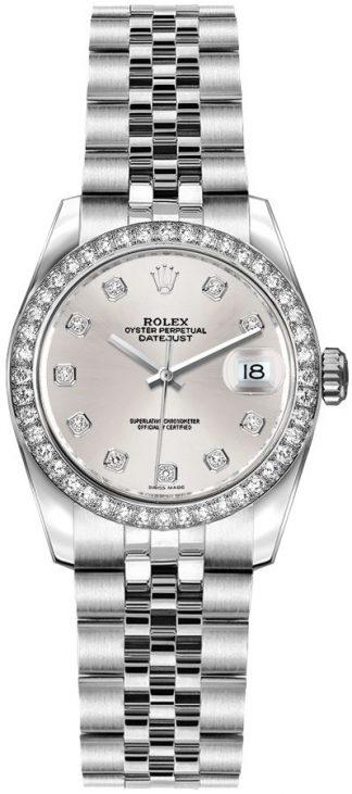 replique Montre Femme Rolex Lady-Datejust 26 Diamant Cadran Argent 179384
