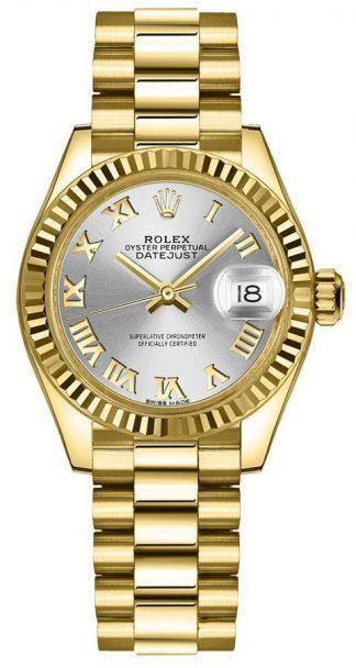 replique Montre Femme Rolex Lady-Datejust 28 Cadran Argenté Lunette Cannelée 279178