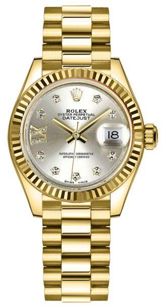 replique Montre Femme Rolex Lady-Datejust 28 Cadran Argenté Or Jaune 279178