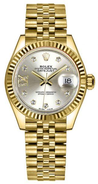 replique Montre Femme Rolex Lady-Datejust 28 Cadran Argent Diamant IX 279178