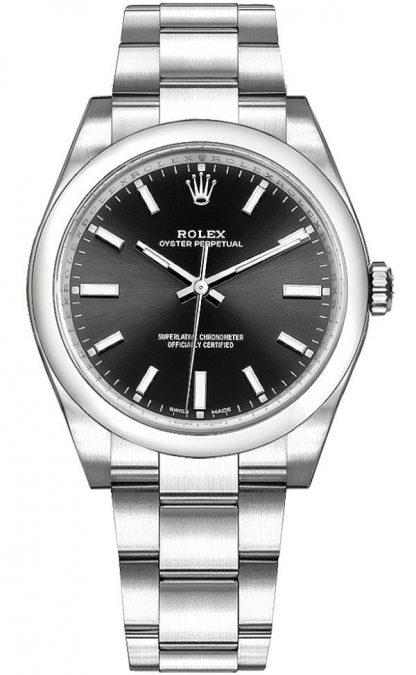 replique Montre Femme Rolex Oyster Perpetual 34 Cadran Noir 114200