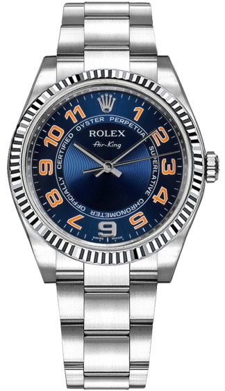 replique Montre Femme Rolex Oyster Perpetual Air-King Blue Dial 114234