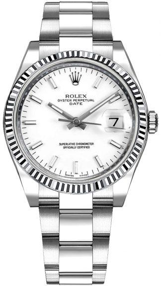 replique Montre Femme Rolex Oyster Perpetual Date 34 Cadran Blanc 115234