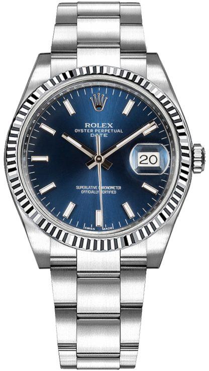 replique Montre Femme Rolex Oyster Perpetual Date 34 Cadran Bleu 115234