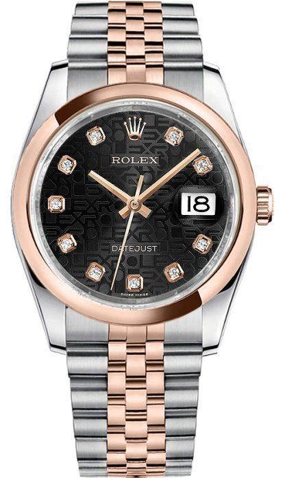 replique Montre Homme Rolex Datejust 36 Black Diamond 116201
