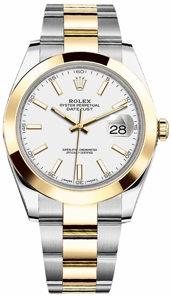 replique Montre Homme Rolex Datejust 41 Cadran Blanc Or et Acier 126303