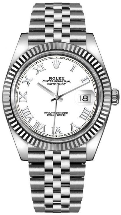 replique Montre Homme Rolex Datejust 41 Cadran Chiffre Romain Blanc 126334