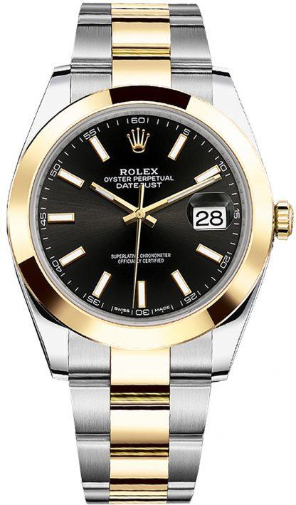replique Montre Homme Rolex Datejust 41 Cadran Noir Or et Acier 126303