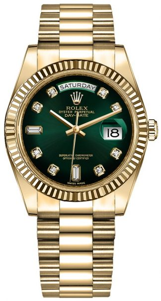 replique Montre Homme Rolex Day-Date 36 Cadran Diamant Vert 128238