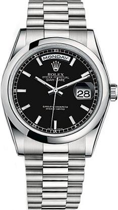 replique Montre Homme Rolex Day-Date 36 Cadran Noir Platine 118206