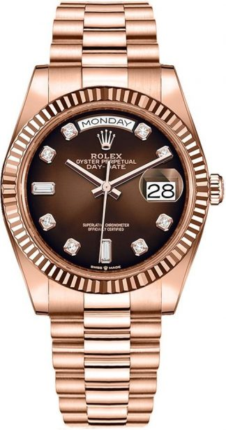 replique Montre Homme Rolex Day-Date 36 Cadran Ombre Marron 128235