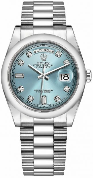 replique Montre Homme Rolex Day-Date 36 Ice Blue Diamond Platine 118206
