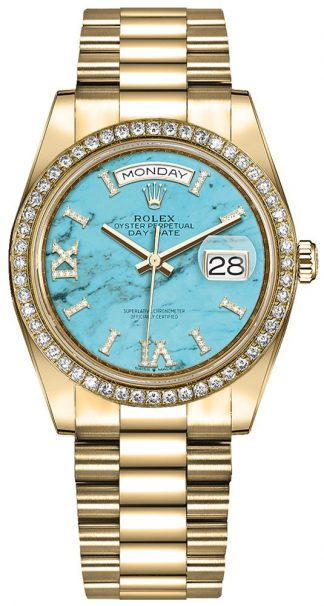 replique Montre Homme Rolex Day-Date 36 Turquoise Diamond Dial 128348RBR