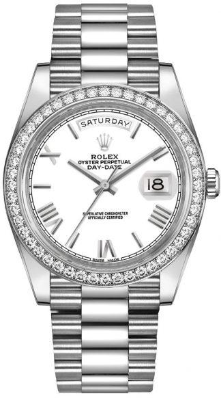 replique Montre Homme Rolex Day-Date 40 Cadran Blanc Diamants 228349RBR