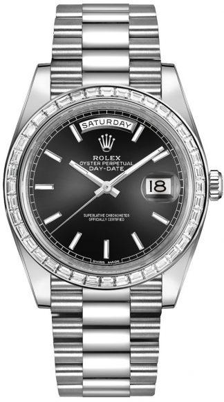 replique Montre Homme Rolex Day-Date 40 Cadran Noir Platine 228396TBR