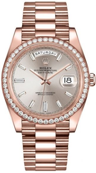 replique Montre Homme Rolex Day-Date 40 Sundust Diamond Dial 228345RBR