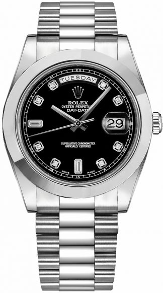 replique Montre Homme Rolex Day-Date 41 Black Diamond Dial Platine 218206
