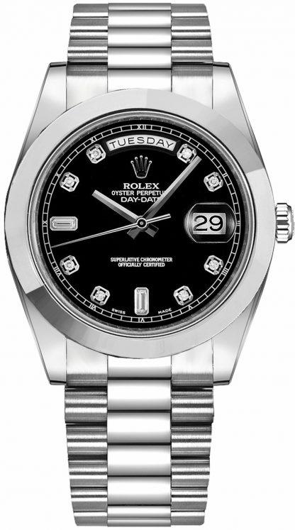 replique Montre Homme Rolex Day-Date 41 Black Diamond Dial Platine 218206