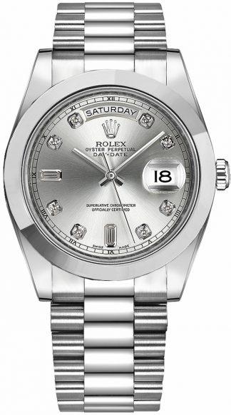 replique Montre Homme Rolex Day-Date 41 Cadran Diamant Argent Platine 218206
